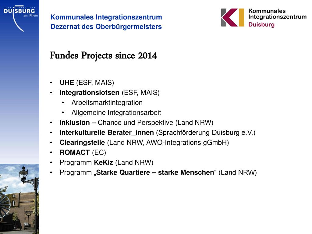Fundes Projects since 2014 Kommunales Integrationszentrum