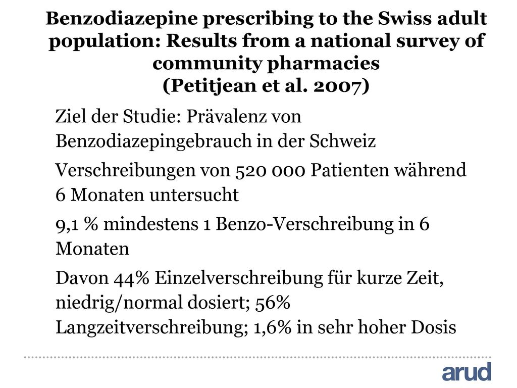 Benzodiazepine prescribing to the Swiss adult population: Results from a national survey of community pharmacies (Petitjean et al. 2007)
