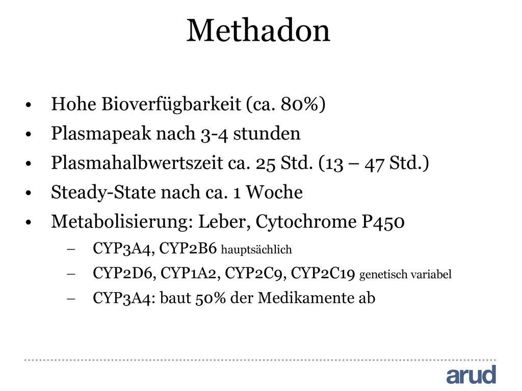 Methadon Hohe Bioverfügbarkeit (ca. 80%) Plasmapeak nach 3-4 stunden