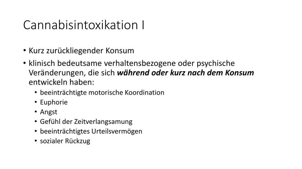 Cannabisintoxikation I