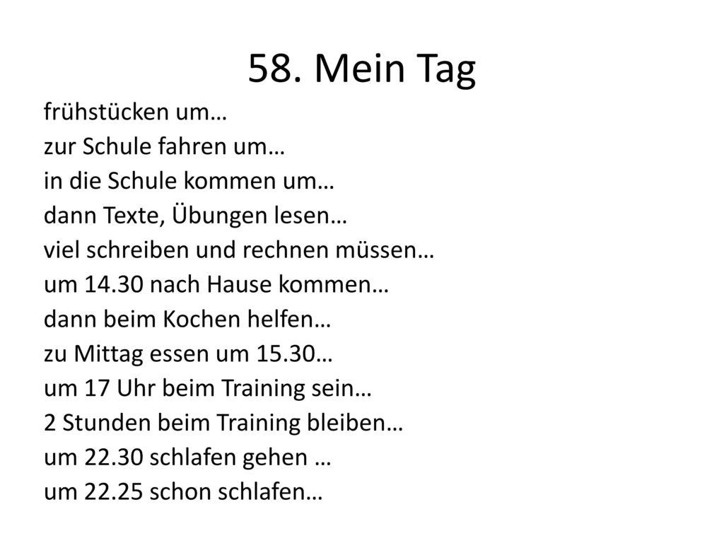 58. Mein Tag
