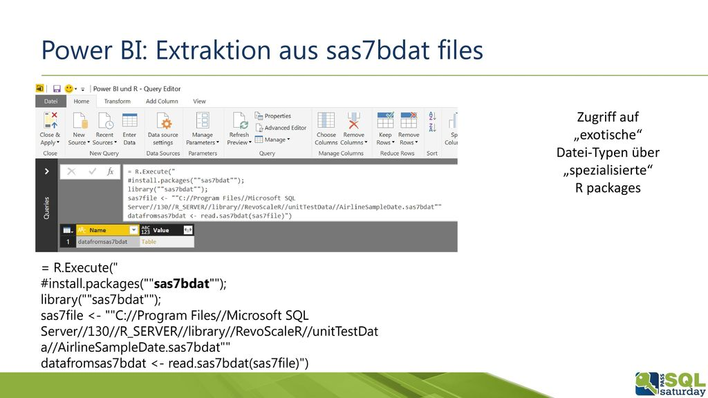 Power BI: Extraktion aus sas7bdat files