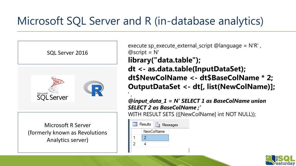 Microsoft SQL Server and R (in-database analytics)