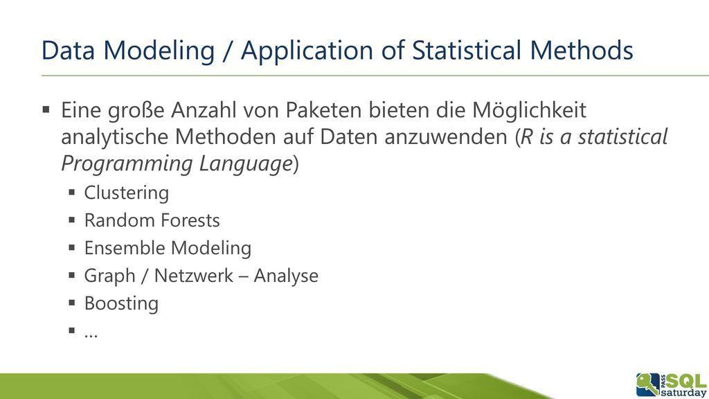 Data Modeling / Application of Statistical Methods