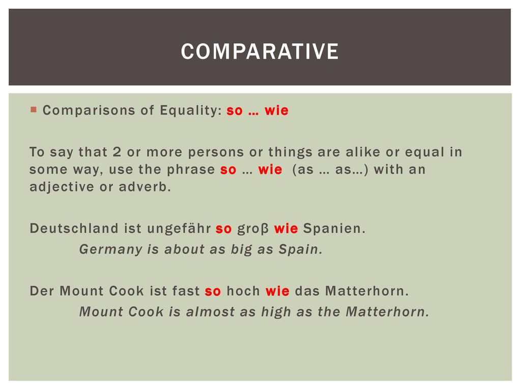 Comparative Comparisons of Equality: so … wie