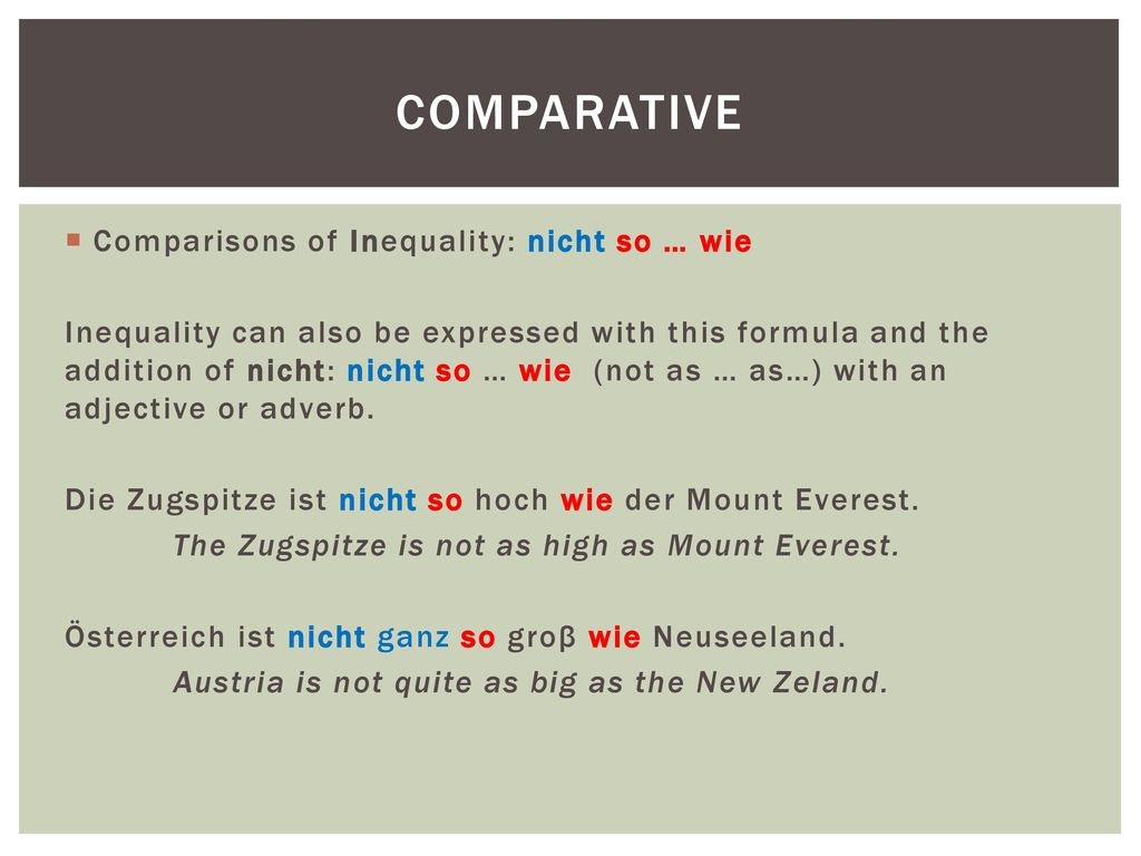 Comparative Comparisons of Inequality: nicht so … wie