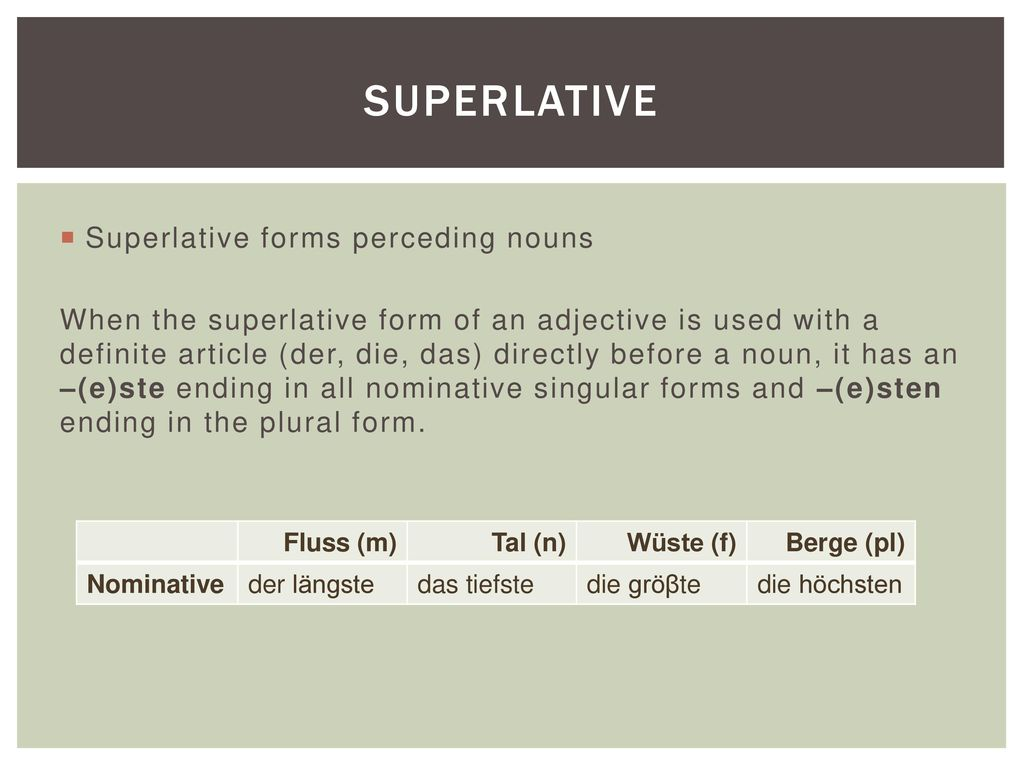 Superlative Superlative forms perceding nouns