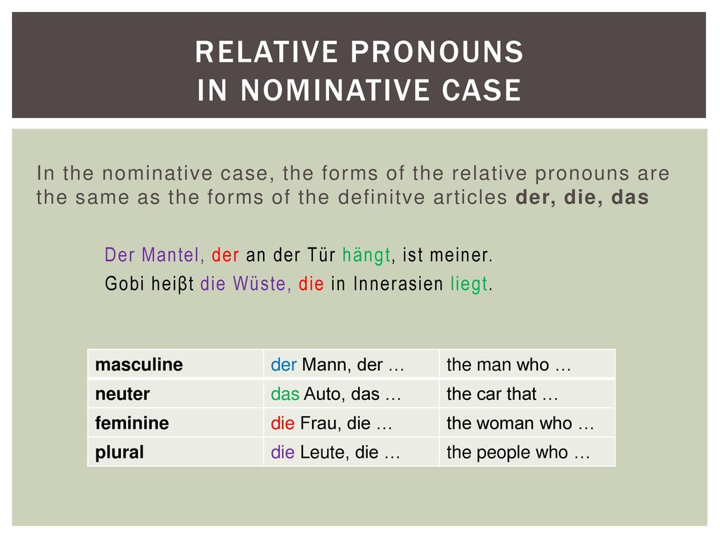Relative pronouns in nominative case