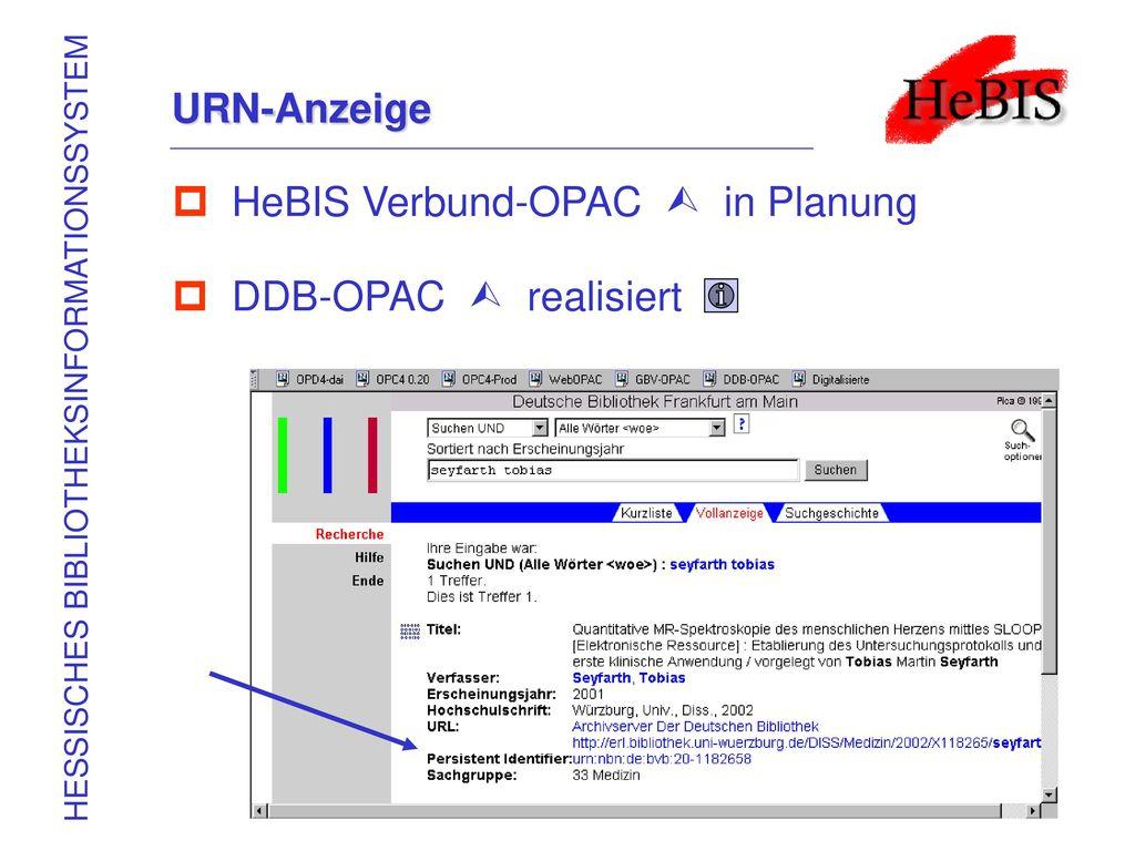 HeBIS Verbund-OPAC  in Planung