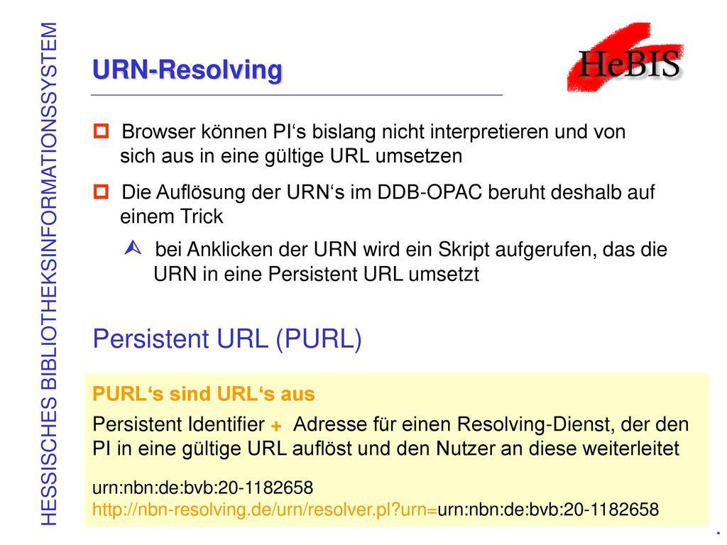 URN-Resolving Persistent URL (PURL)
