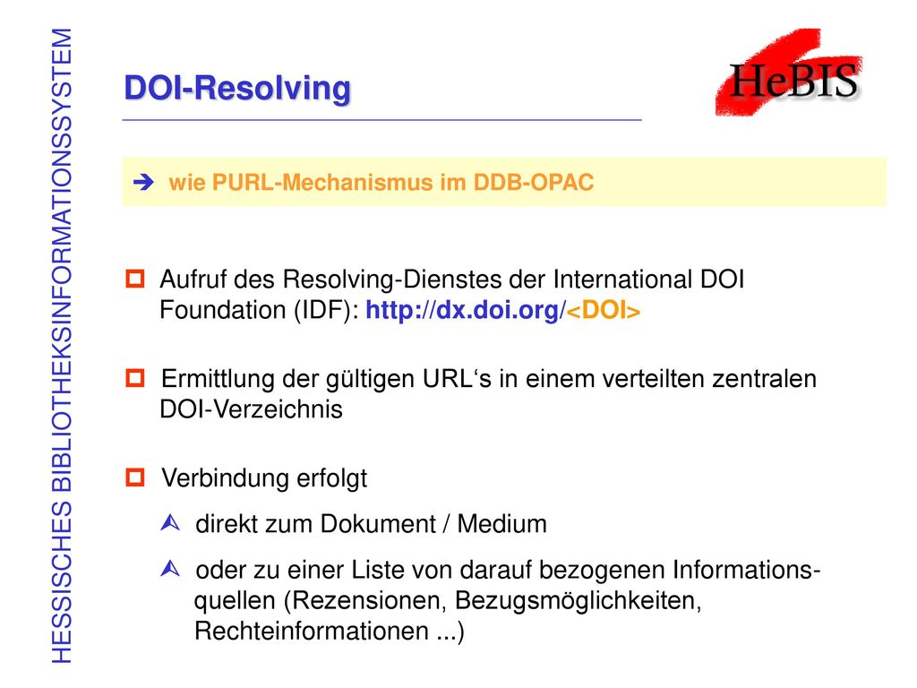 DOI-Resolving HESSISCHES BIBLIOTHEKSINFORMATIONSSYSTEM