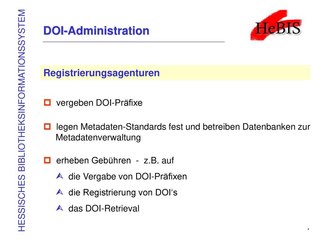DOI-Administration Registrierungsagenturen