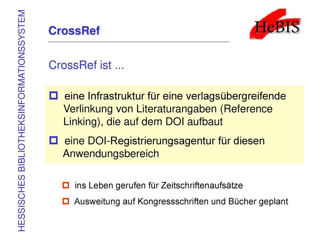 CrossRef CrossRef ist ...