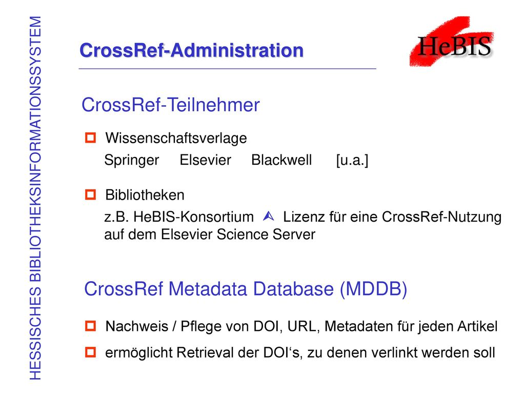 CrossRef-Administration