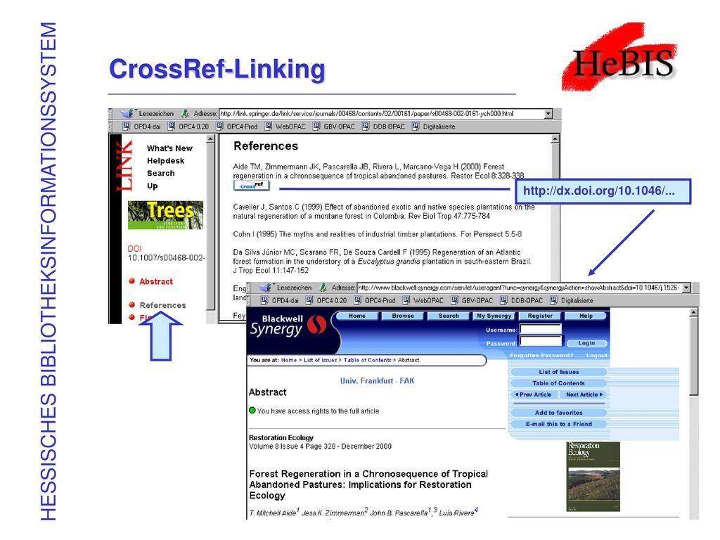 CrossRef-Linking HESSISCHES BIBLIOTHEKSINFORMATIONSSYSTEM