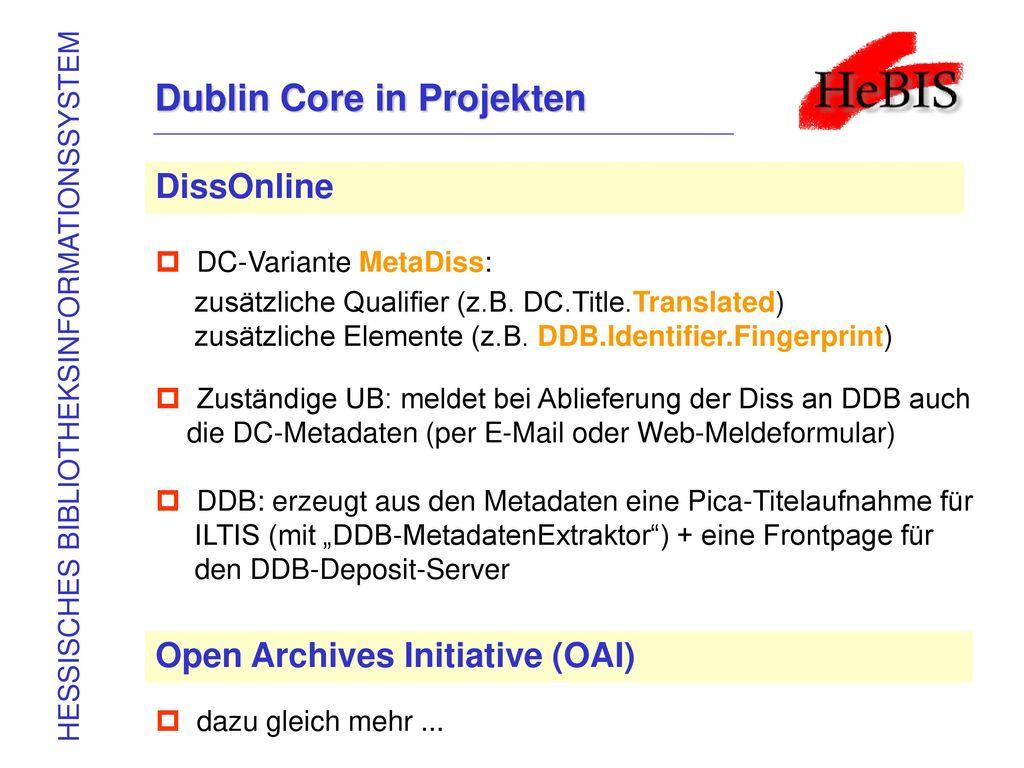 Dublin Core in Projekten