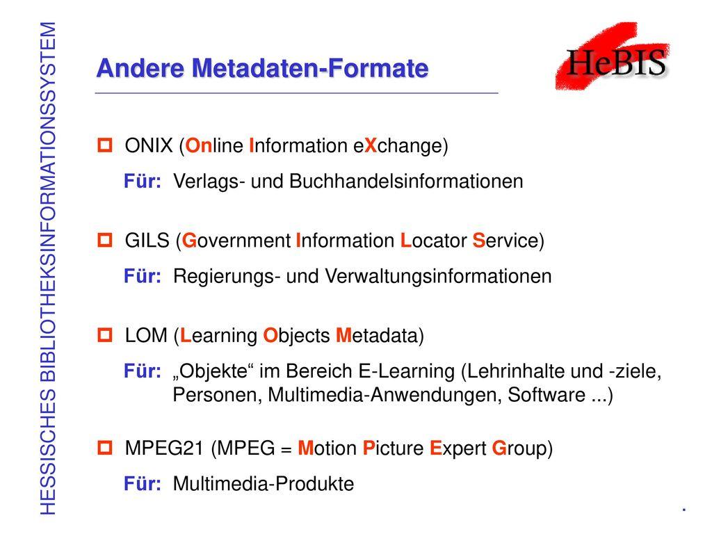 Andere Metadaten-Formate