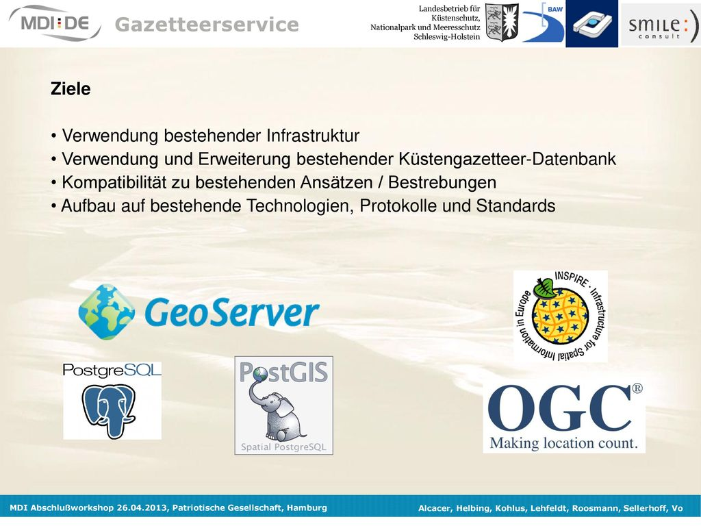 Gazetteerservice Ziele Verwendung bestehender Infrastruktur