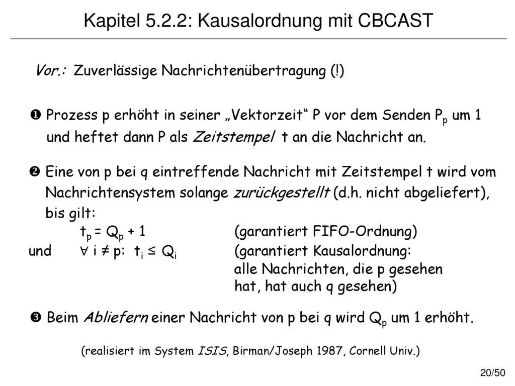 Kapitel 5.2.2: Kausalordnung mit CBCAST