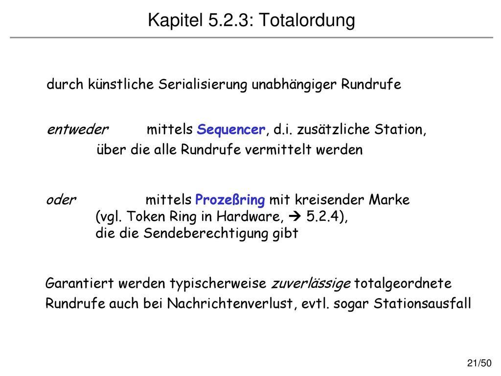 Kapitel 5.2.3: Totalordung durch künstliche Serialisierung unabhängiger Rundrufe. entweder mittels Sequencer, d.i. zusätzliche Station,