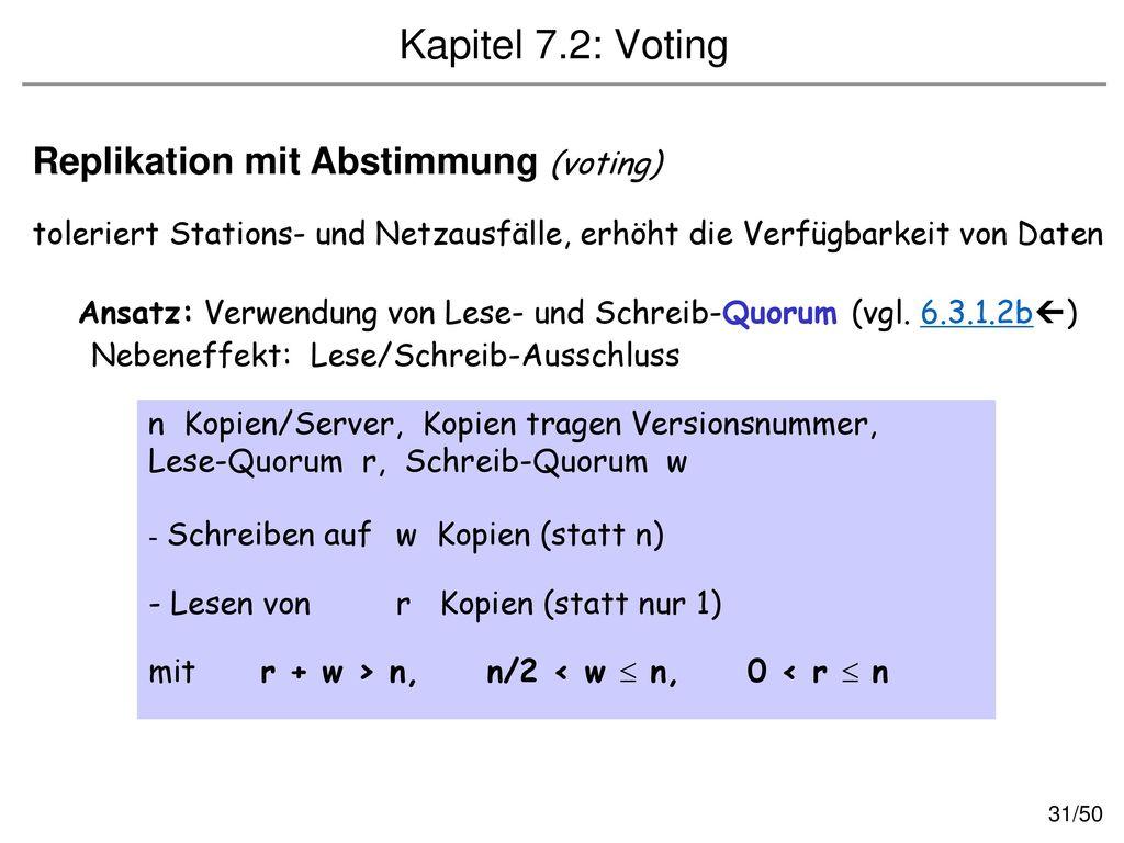 Kapitel 7.2: Voting Replikation mit Abstimmung (voting)