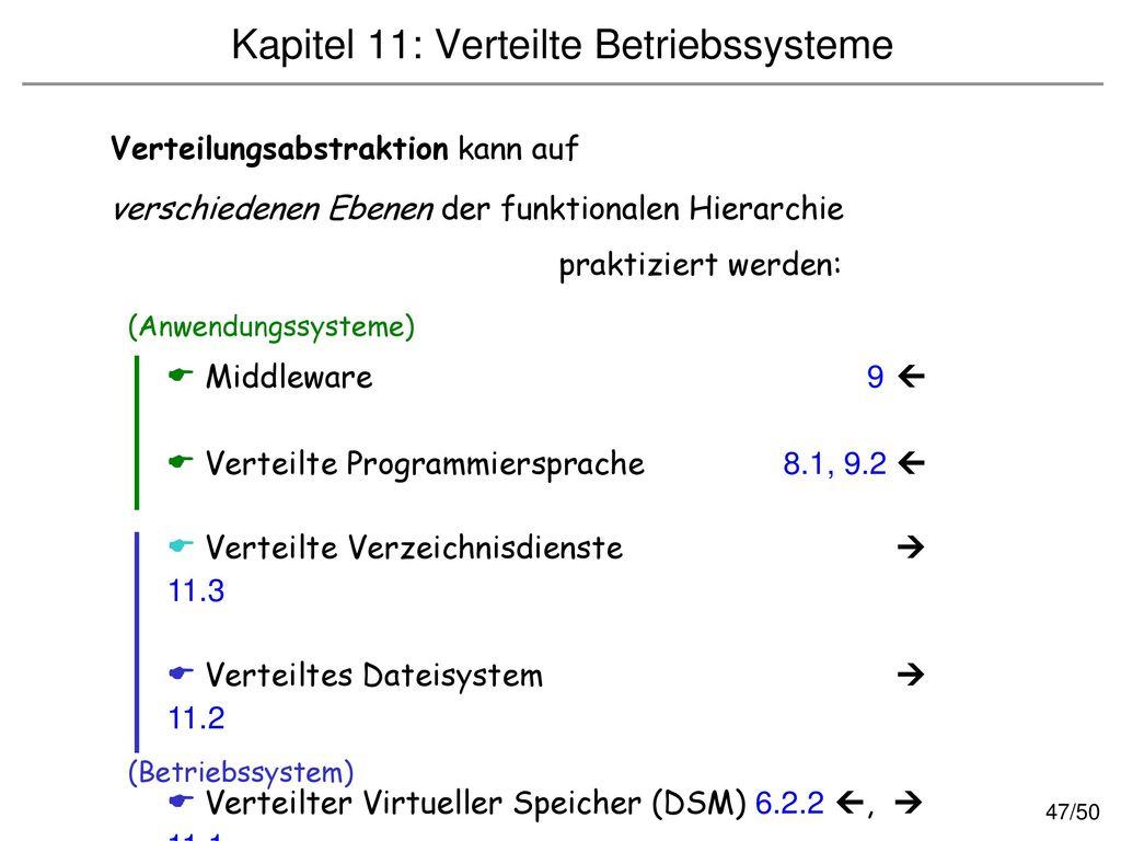 Kapitel 11: Verteilte Betriebssysteme