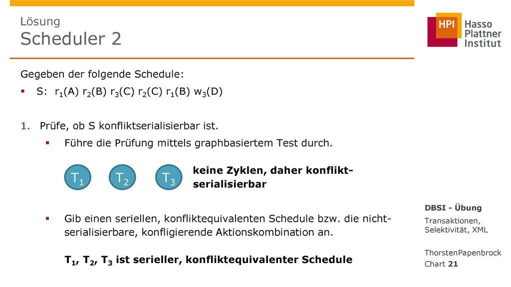 T1 T2 T3 Lösung Scheduler 2 Gegeben der folgende Schedule: