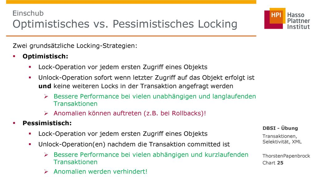 Einschub Optimistisches vs. Pessimistisches Locking