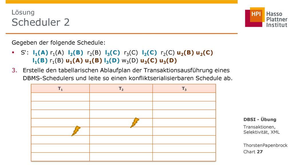 Lösung Scheduler 2 Gegeben der folgende Schedule: