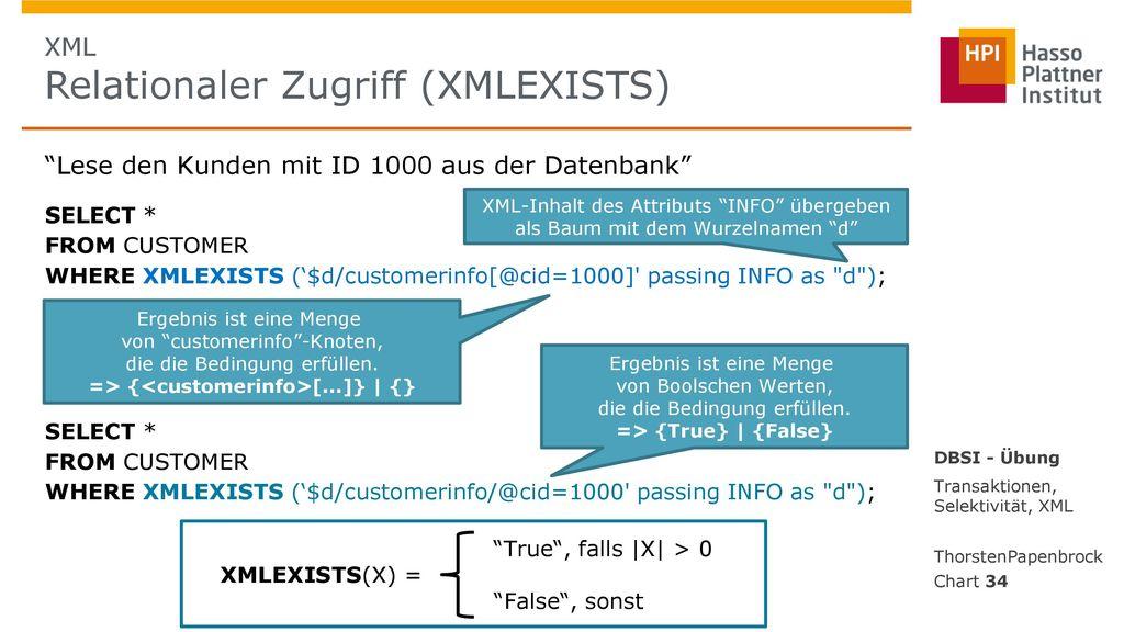 XML Relationaler Zugriff (XMLEXISTS)