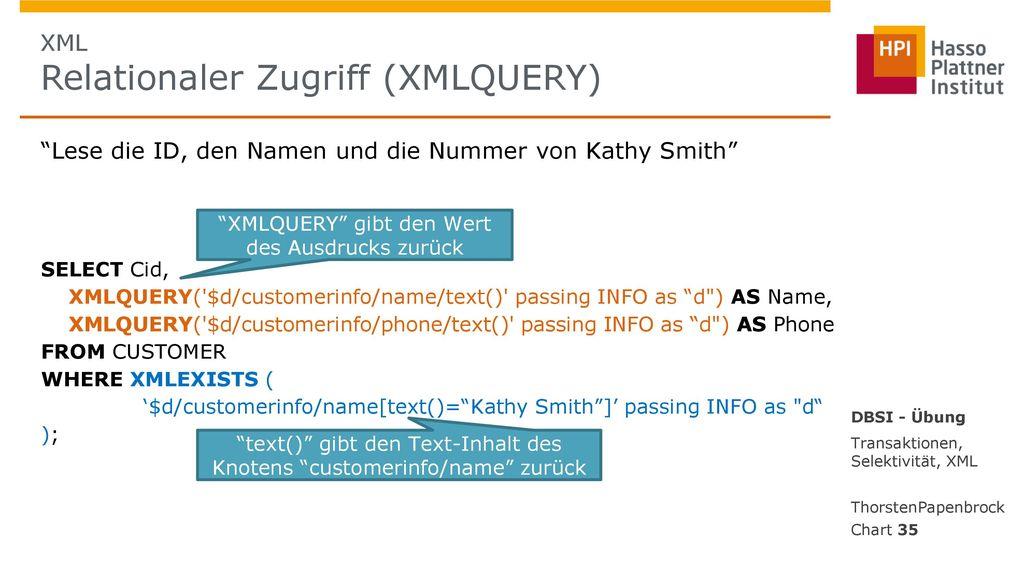 XML Relationaler Zugriff (XMLQUERY)