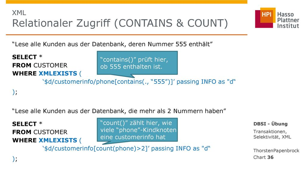 XML Relationaler Zugriff (CONTAINS & COUNT)