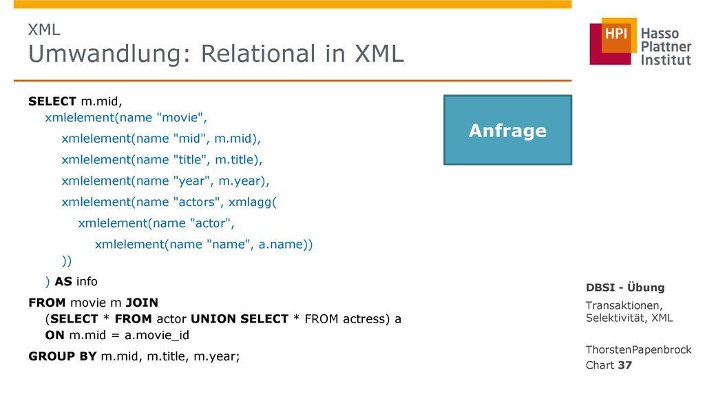 XML Umwandlung: Relational in XML