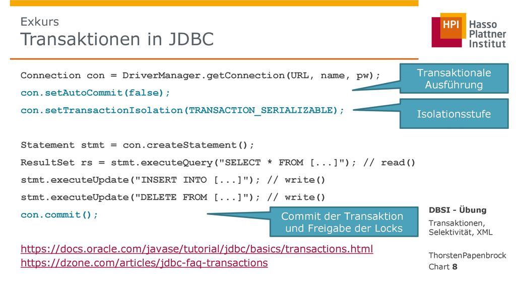 Exkurs Transaktionen in JDBC