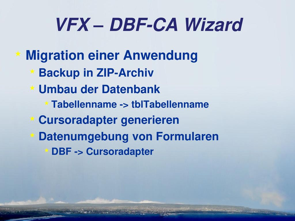 VFX – DBF-CA Wizard Migration einer Anwendung Backup in ZIP-Archiv