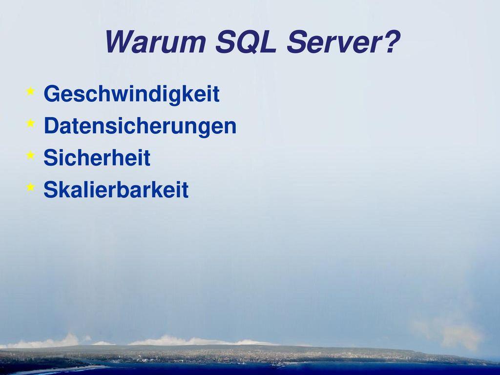 Warum SQL Server Geschwindigkeit Datensicherungen Sicherheit