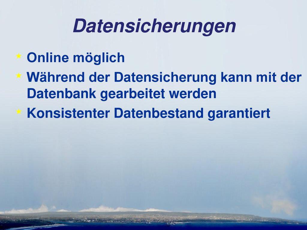 Datensicherungen Online möglich