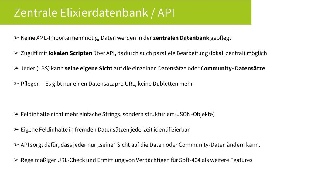 Zentrale Elixierdatenbank / API
