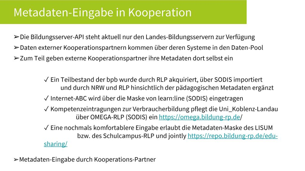 Metadaten-Eingabe in Kooperation