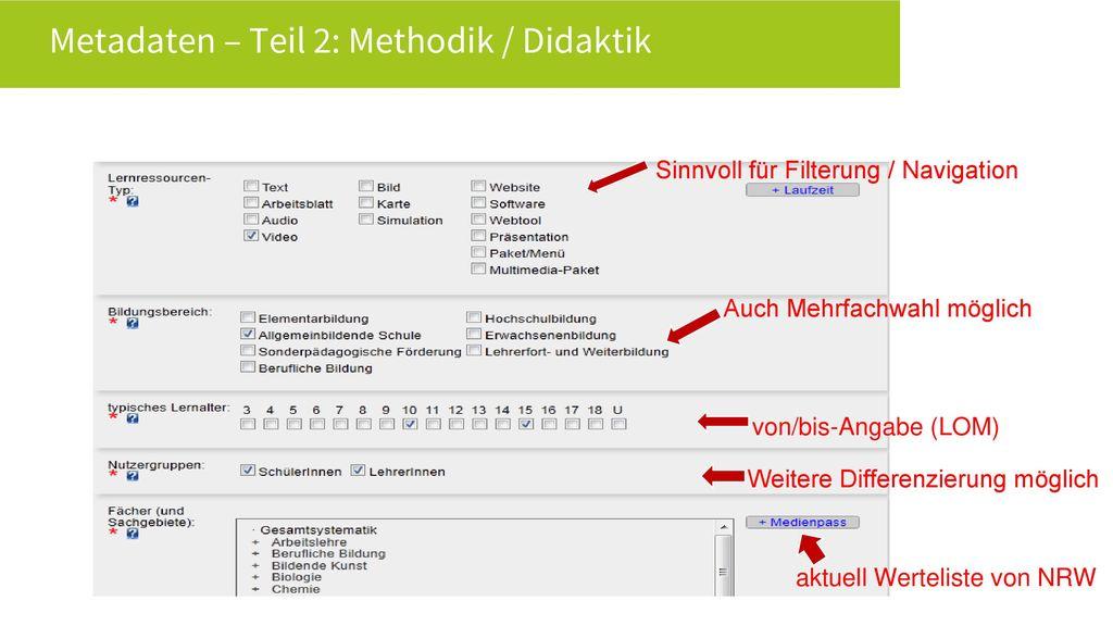 Metadaten – Teil 2: Methodik / Didaktik