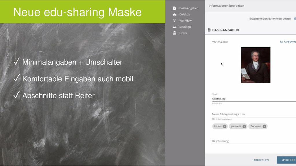 Neue edu-sharing Maske