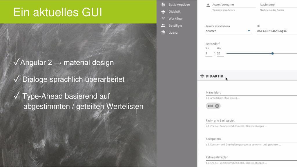 Ein aktuelles GUI Angular 2 → material design