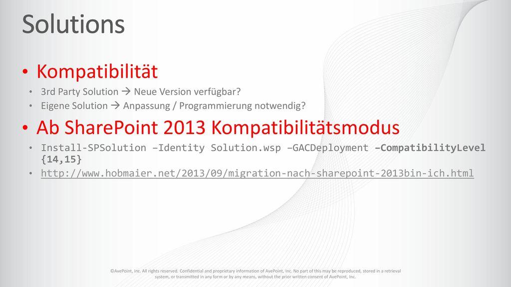Solutions Kompatibilität Ab SharePoint 2013 Kompatibilitätsmodus