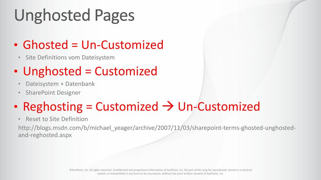 Unghosted Pages Ghosted = Un-Customized Unghosted = Customized