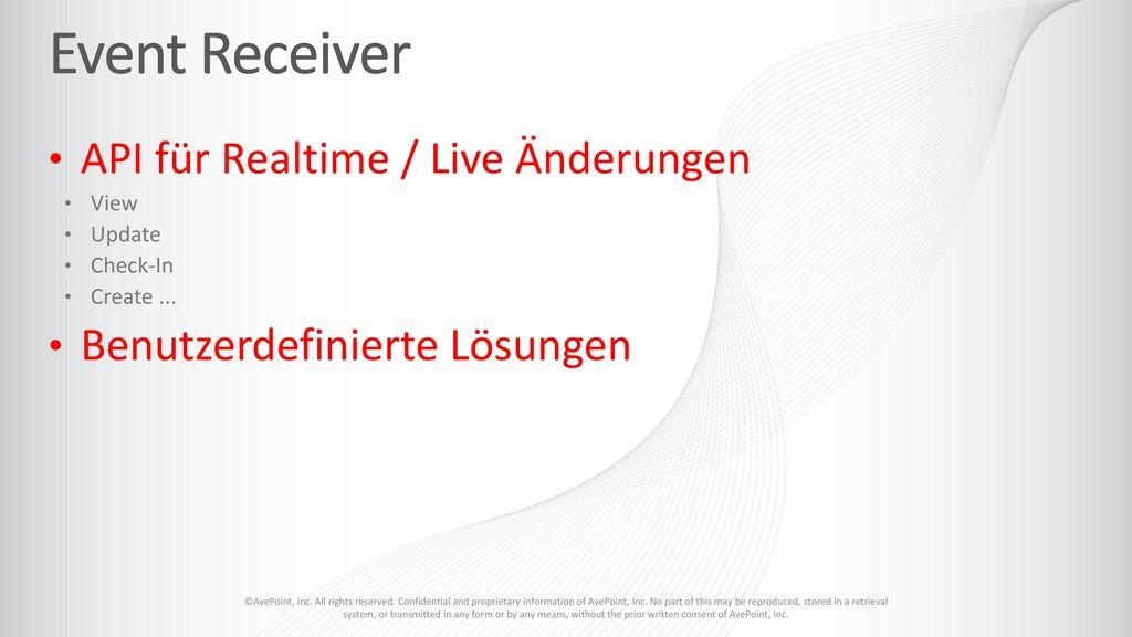 Event Receiver API für Realtime / Live Änderungen