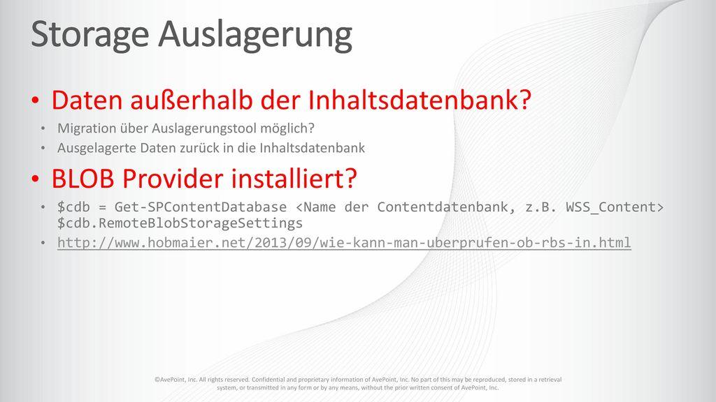 Storage Auslagerung Daten außerhalb der Inhaltsdatenbank