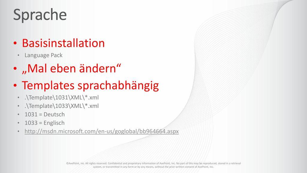 "Sprache Basisinstallation ""Mal eben ändern Templates sprachabhängig"