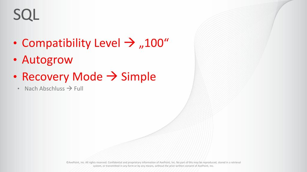 """SQL Compatibility Level  """"100 Autogrow Recovery Mode  Simple"""