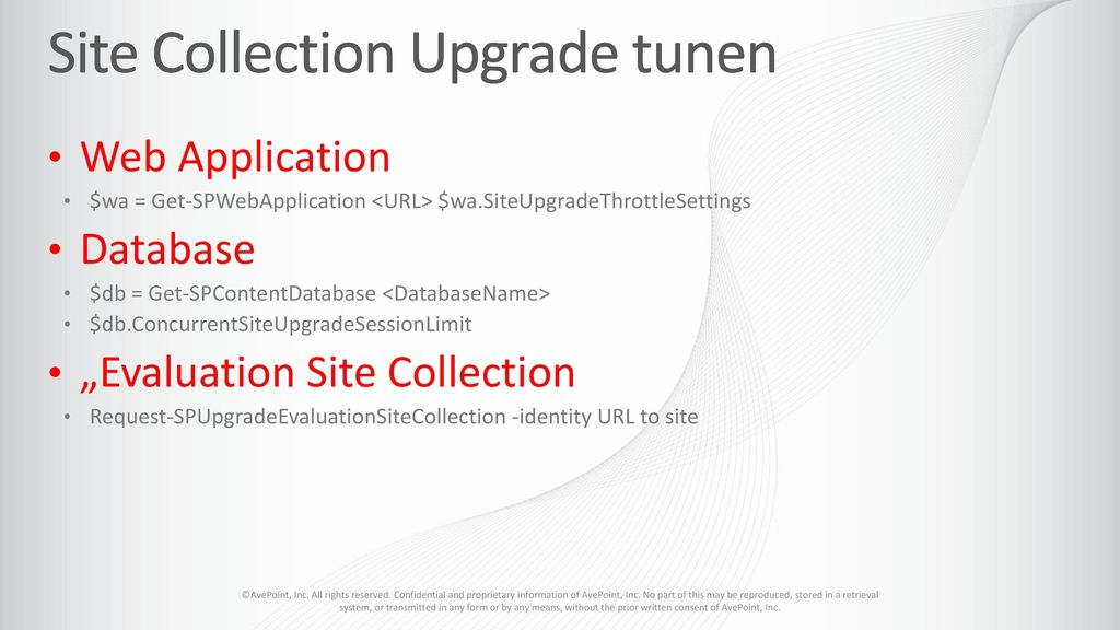Site Collection Upgrade tunen