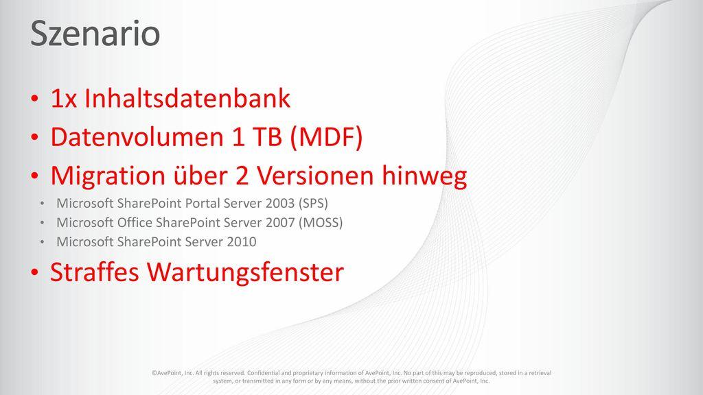 Szenario 1x Inhaltsdatenbank Datenvolumen 1 TB (MDF)